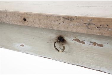 Detail of Table Top Edge and Ring Handle on Drawer