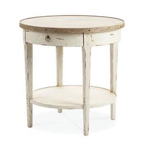 Century Monarch Fine Furniture Hannah Single Drawer Round End Table Antique Honey Finished Top and