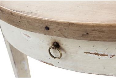 Detail of Table Edge with Nail Head Accent and Drawer with Ring Handle
