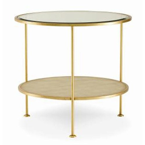 Century Monarch Fine Furniture Adele Round End Table with Glass Top and Taupe Faux-Shagreen Shelf