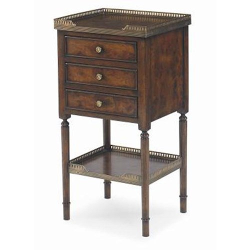 Century Monarch Fine Furniture Beckett 3 Drawer Side Table with Antique Brass Finished Galleries on Top and on Open Shelf