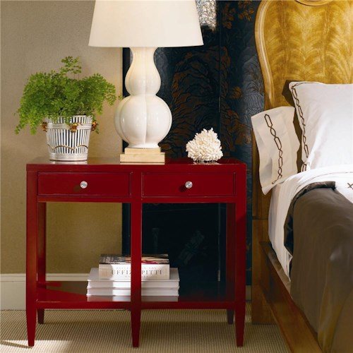 Century New Traditional Bedside Table with Two Drawers