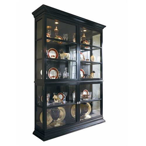 Century New Traditional Display Cabinet with Crown and Base Moulding