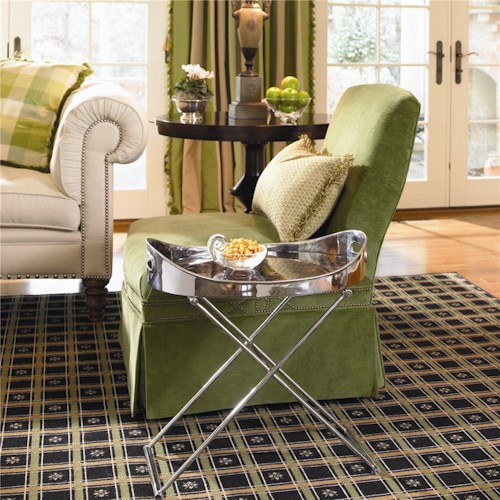 Century New Traditional Chrome Plated Chairside Tray Table With Penshell