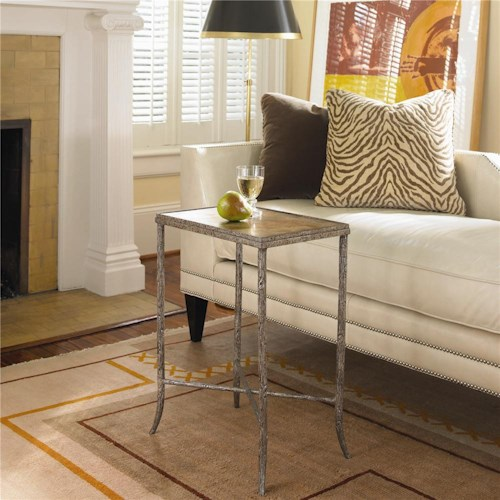Century New Traditional Metal Chairside Table with Gold & Silver Leaf Top