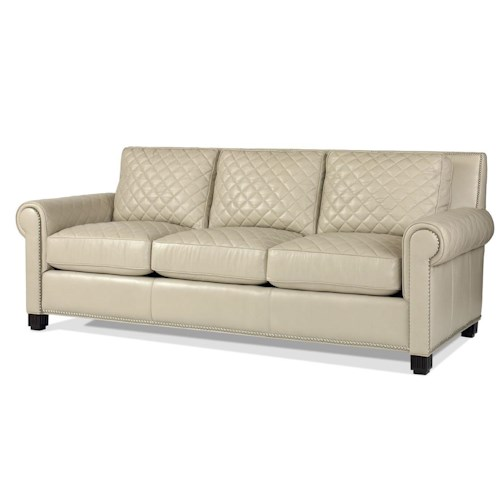 Century PLR-57  Roll Arm Sofa w/ Quilted Leather
