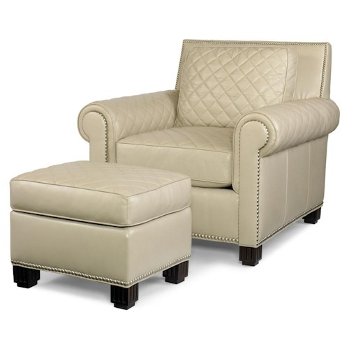 Century PLR-57  Roll Arm Chair & Ottoman w/ Quilting