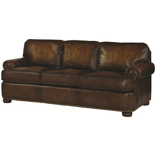 Century PLR-54 Leather Sofa with Traditional Upholstered Style