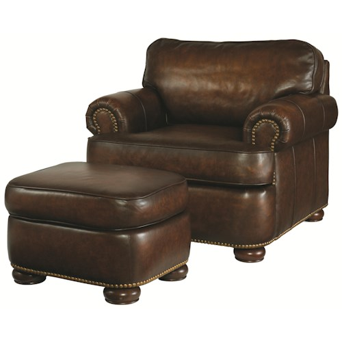 Century PLR-54 Traditional Styled Leather Chair and Ottoman Set
