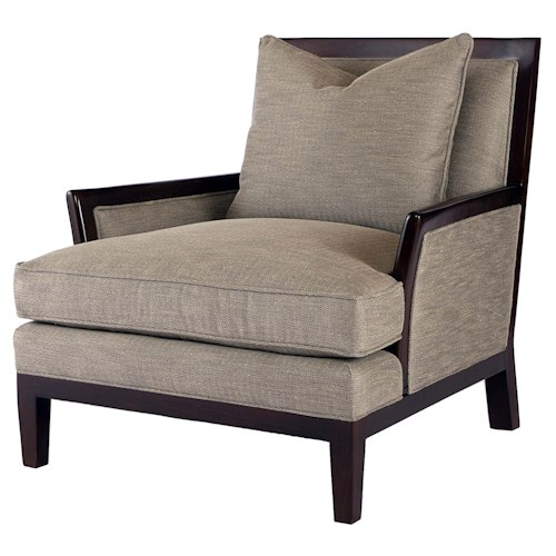 Century Signature Upholstered Accents Exposed Wood Accent Chair with Casual Furniture Style
