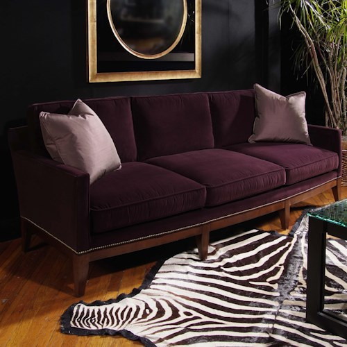 Century Signature Upholstered Accents Transitional Hilton Sofa with Urban Furniture Style