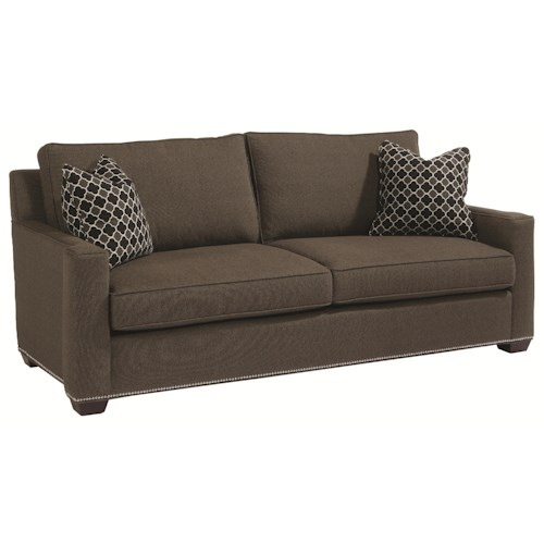 Century Studio Essentials Upholstery Transitional Styled Colton Sofa with Track Arms and Two Seat Cushions