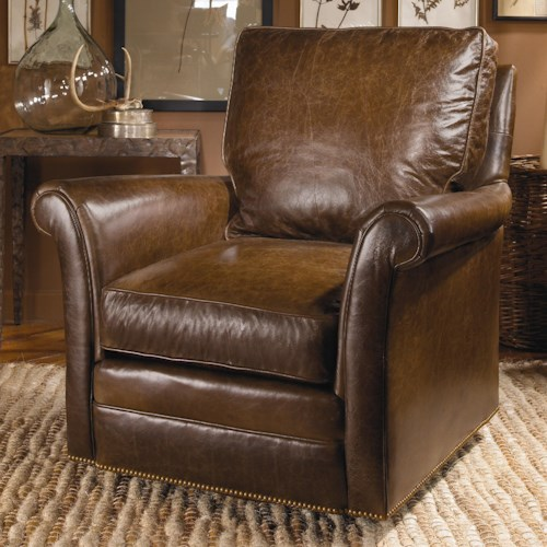 Century Swivel Chairs Century Traditional Swivel Chair with Nail Head Trim