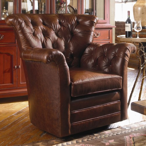 Century Swivel Chairs Century Traditional Tufted Back Swivel Chair