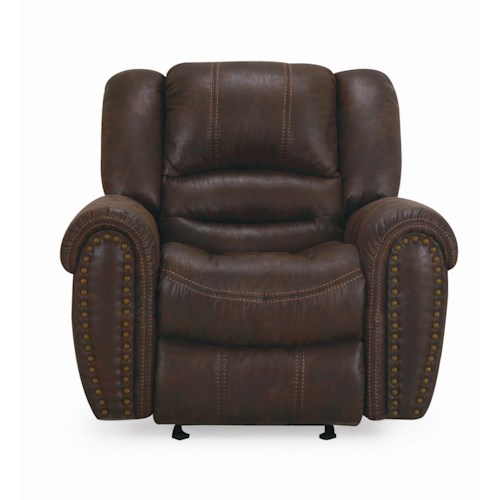 Cheers Sofa 8295 Glider Recliner with Nailhead Trim