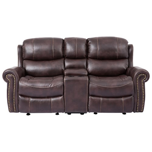 Cheers Sofa 9768 Reclining Loveseat with Rolled Arms and Console