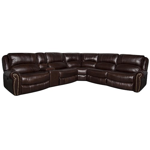 Morris Home Furnishings Fleming Leather-Match* Power Reclining Sectional