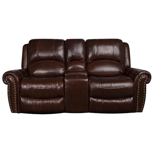Morris Home Furnishings Fleming Leather-Match* Dual Reclining Loveseat with Electric Console