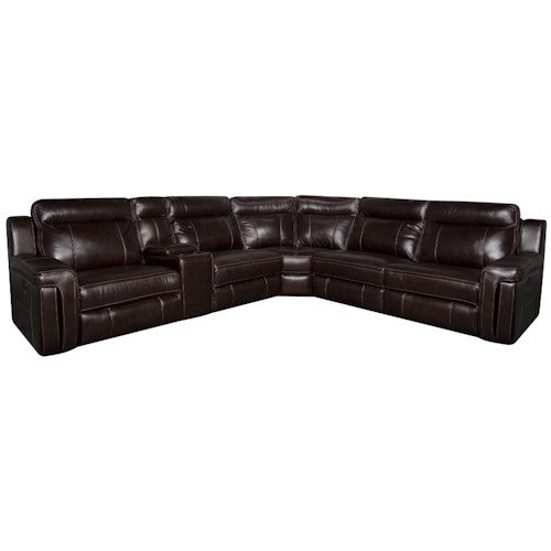 Morris Home Furnishings Roddrick 6-Piece Leather-Match* Power Sectional