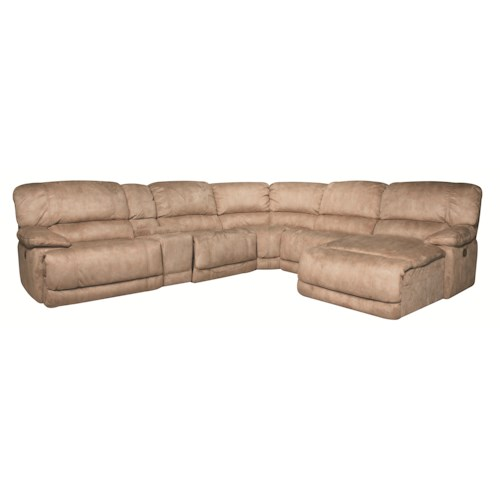 Morris Home Furnishings Sandra 6-Piece Power Sectional in Stone