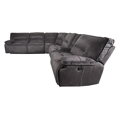 Morris Home Furnishings Theodore 6-Piece Pella suede Power Reclining Sectional