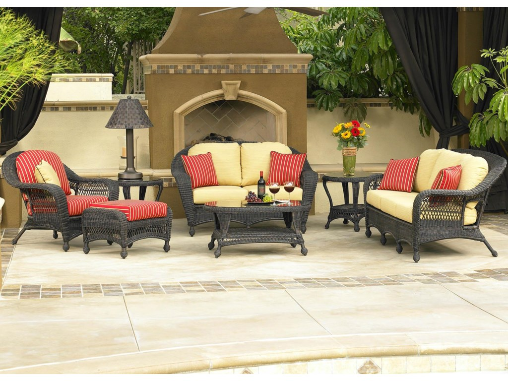 Shown in Outdoor Setting with Sofa, Loveseat, Chair, Ottoman and Cocktail Table