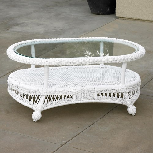 NorthCape International St Lucia Woven Oval Outdoor Coffee Table with Glass Top