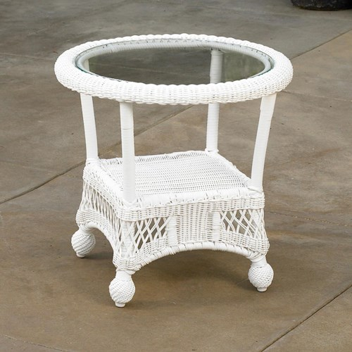 NorthCape International St Lucia Woven Round End Table with Glass Top