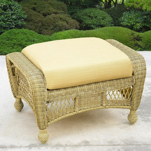 NorthCape International St Lucia Woven Outdoor Ottoman with Seat Cushion