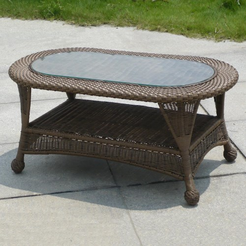 NorthCape International Winward Cocoa Woven Oval Outdoor Coffee Table with Glass Top