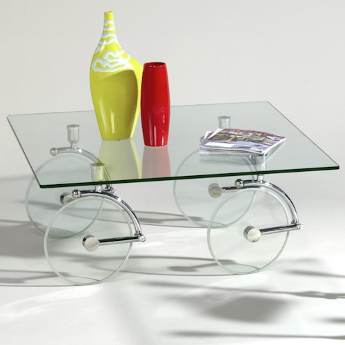 Chintaly Imports 1105 Contemporary Glass Caster Cocktail Table