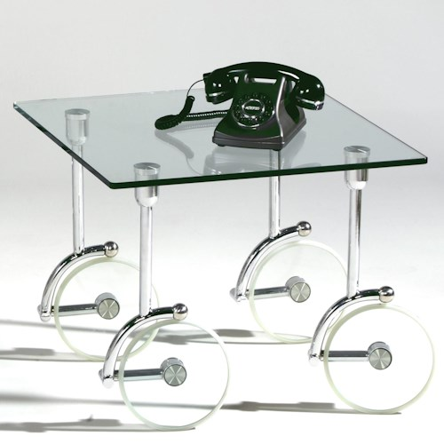 Chintaly Imports 1105 Contemporary Glass Caster Lamp Table