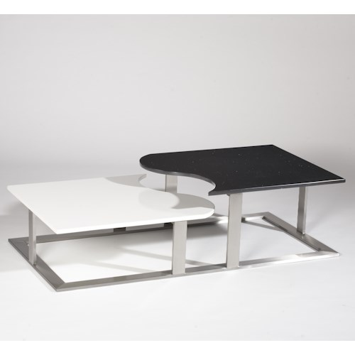 Chintaly Imports 3931 Black & White Cocktail Table