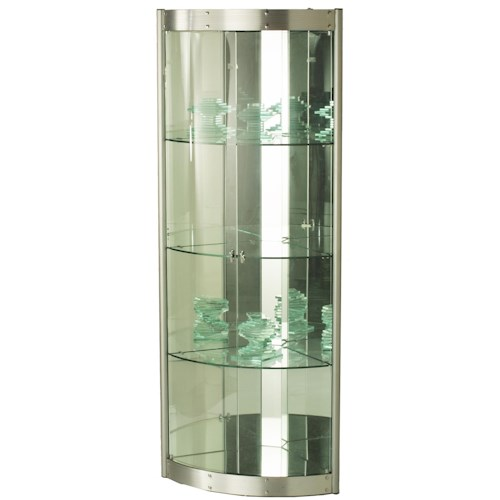 Chintaly Imports 6617 Contemporary Corner Curio w/ Mirror Interior