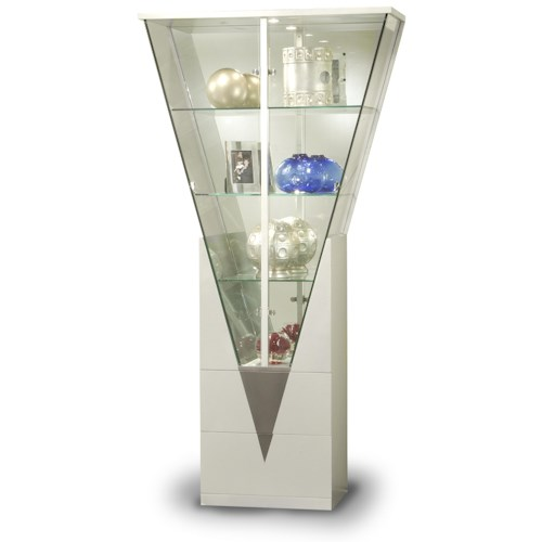 Chintaly Imports Curios Triangular Shaped Curio Cabinet
