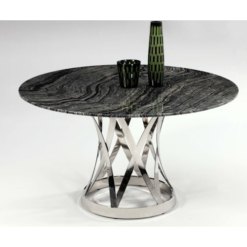 Chintaly Imports Janet Marble Top Dining Table with Chrome Pedestal Base
