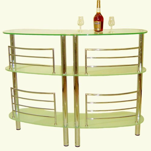 Chintaly Imports Soho  Bar w/ Three Glass Shelves