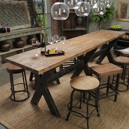 Classic Home Aurora Gathering Table with Reclaimed Pine Wood