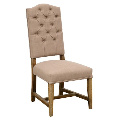 Classic Home Ava Button Tufted Side Chair with Solid Oak Legs
