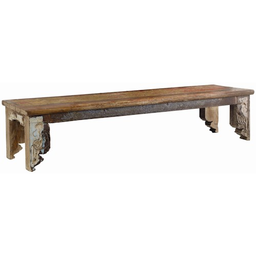 Classic Home Vintage Reclaimed Wood Multi Color Bench