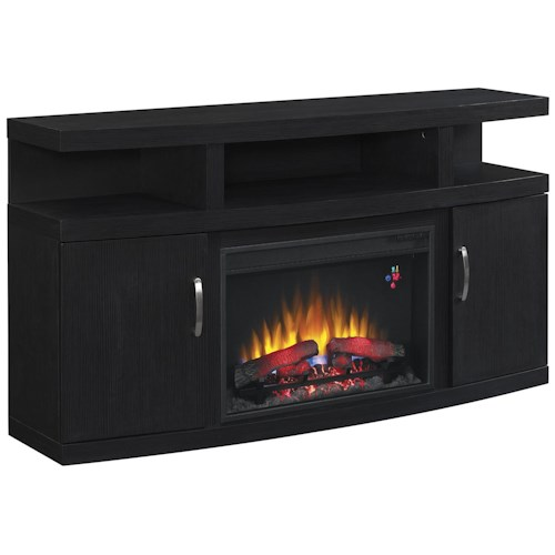 Morris Home Furnishings Cantilever Contemporary TV Stand with Fireplace Insert and Electronic Storage