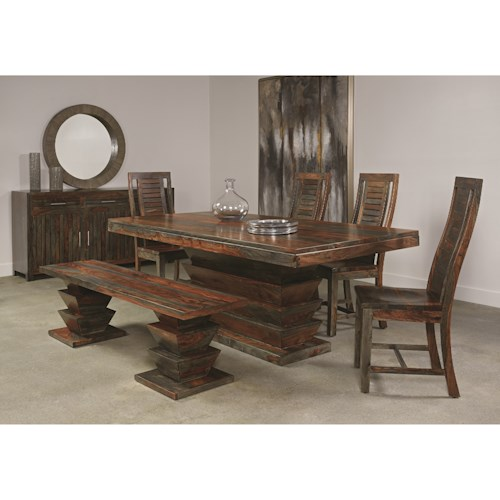 Coast to Coast Imports Capri Dining Room Group with 4 Chairs & 1 Bench
