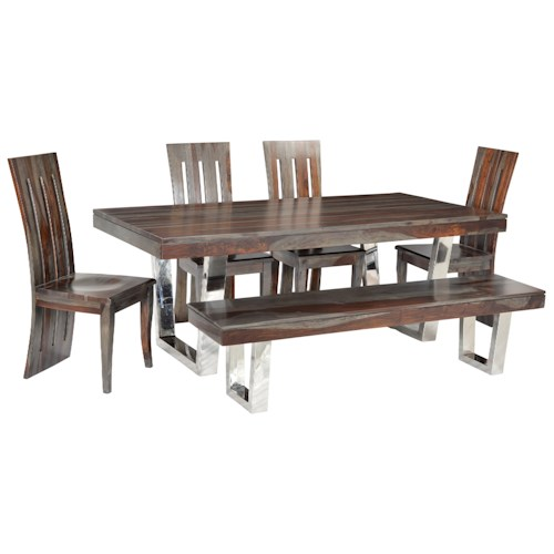 Coast to Coast Imports Cosmopolitan Table & Chair Set with 4 Chairs & 1 Bench