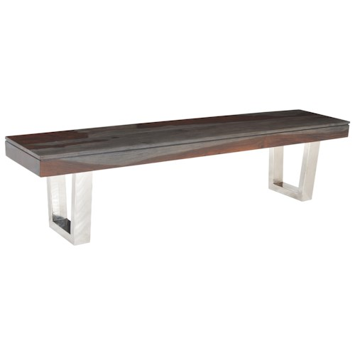 Coast to Coast Imports Cosmopolitan Stainless Steel Base Dining Bench
