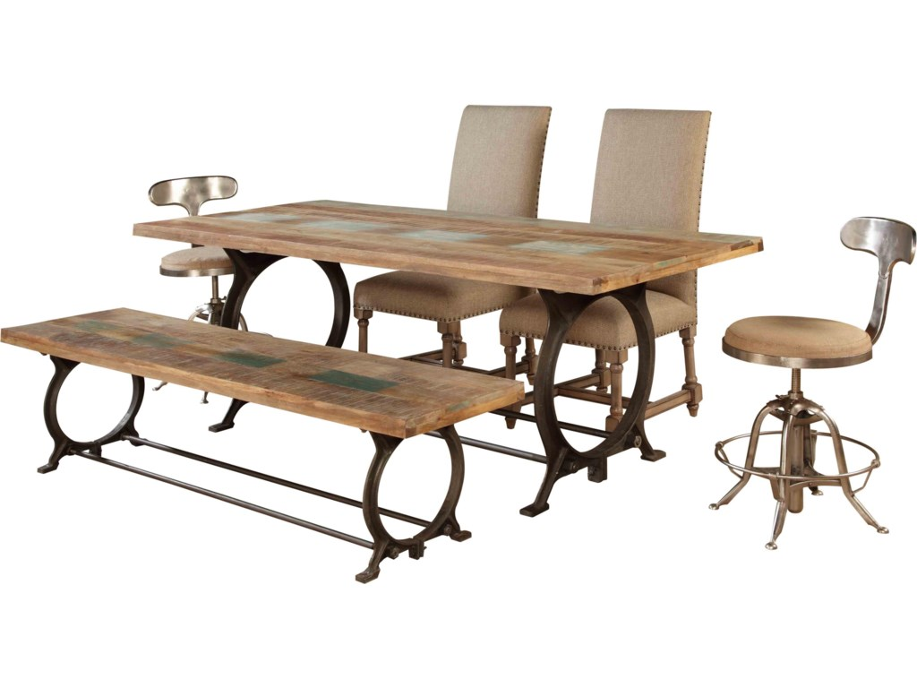 Shown with Industrial Dining Table, Bench, and Swivel Stools