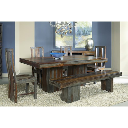 Coast to Coast Imports Grayson Sheesham Dining Table, Chair, and Bench Set