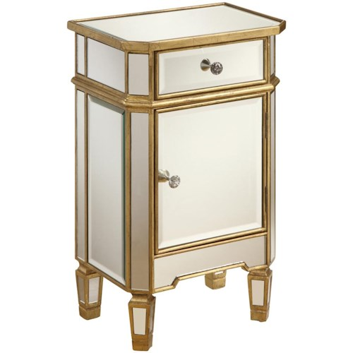 Coast to Coast Imports Occasional Accents Mirrored Accent Cabinet with Gold Wood Finish