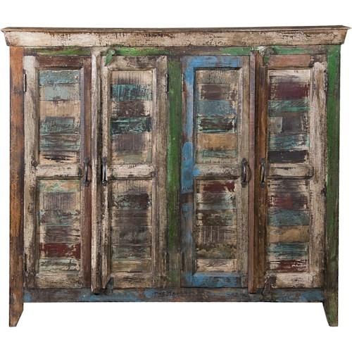 Coast to Coast Imports Occasional Accents Four Door Sideboard with Highly Distressed Multi-Color Finish