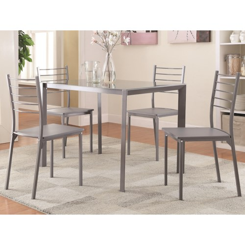 Coaster 100027 Transitional Glass Bar Height Table and Chair Set
