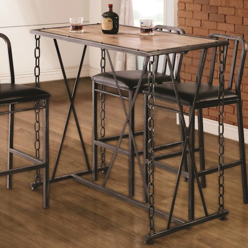 Coaster 10069 Rustic Industrial Chain Link Bar Table